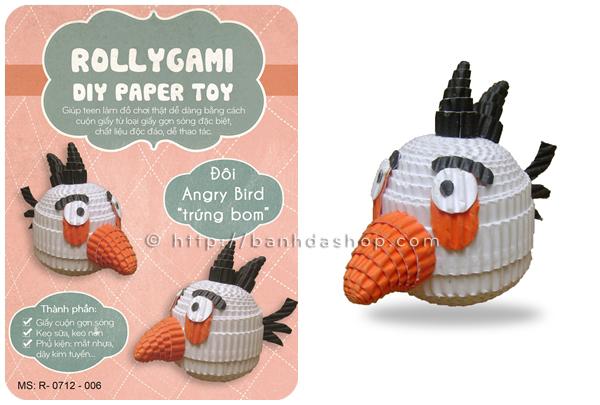 Đồ chơi giấy thủ công Angry bird trắng dễ thương
