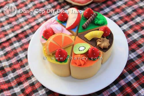 Bánh kem hoa quả bằng vải dạ nỉ