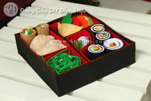 Hộp cơm vải nỉ handmade siêu ngon làm quà sinh nhật cho bạn hoặc sinh nhật bố mẹ.