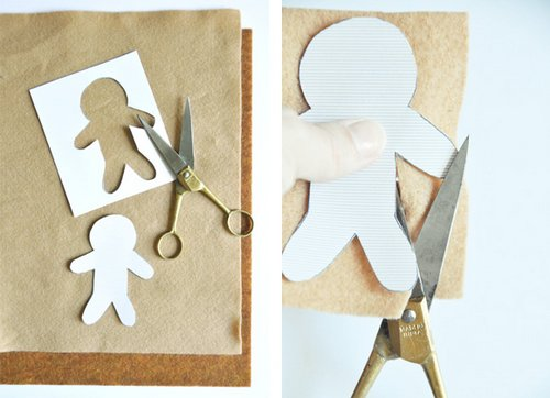 Vẽ mẫu và cắt vải dạ nỉ theo mẫu bánh gừng bạn vẽ