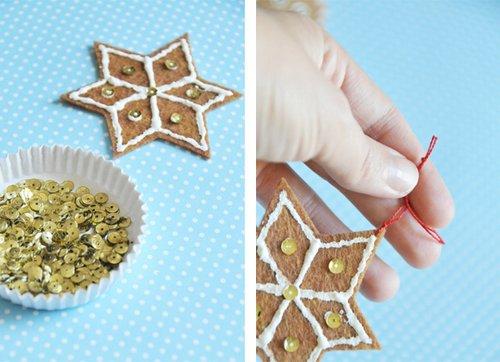 Hoàn tất bánh gừng trang trí cây thông noel. Đính hạt và gắn len vào bánh gừng là bạn có thể sử dụng trang trí ngay được rồi đấy.