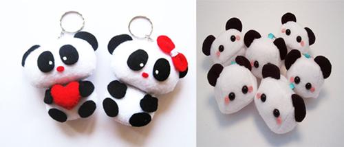 Móc khóa đôi gấu trúc làm quà noel cho các couple nè, bên cạnh là đàn gấu trúc cũng từ vải nỉ luôn nhớ