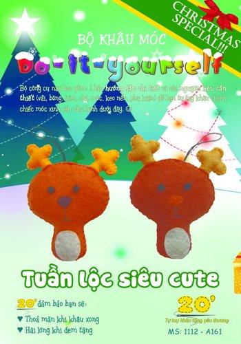 Móc khóa đôi handmade tuần lộc cute cho giáng sinh