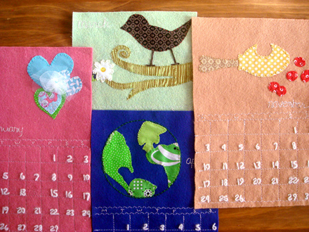 Lịch handmade làm từ vải dạ nỉ, vải vỉ và các miếng vải vụn