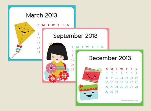Lịch Handmade treo tường họa tiết Nhật Bản. Bạn cũng có thể in và đóng thành lịch để bàn