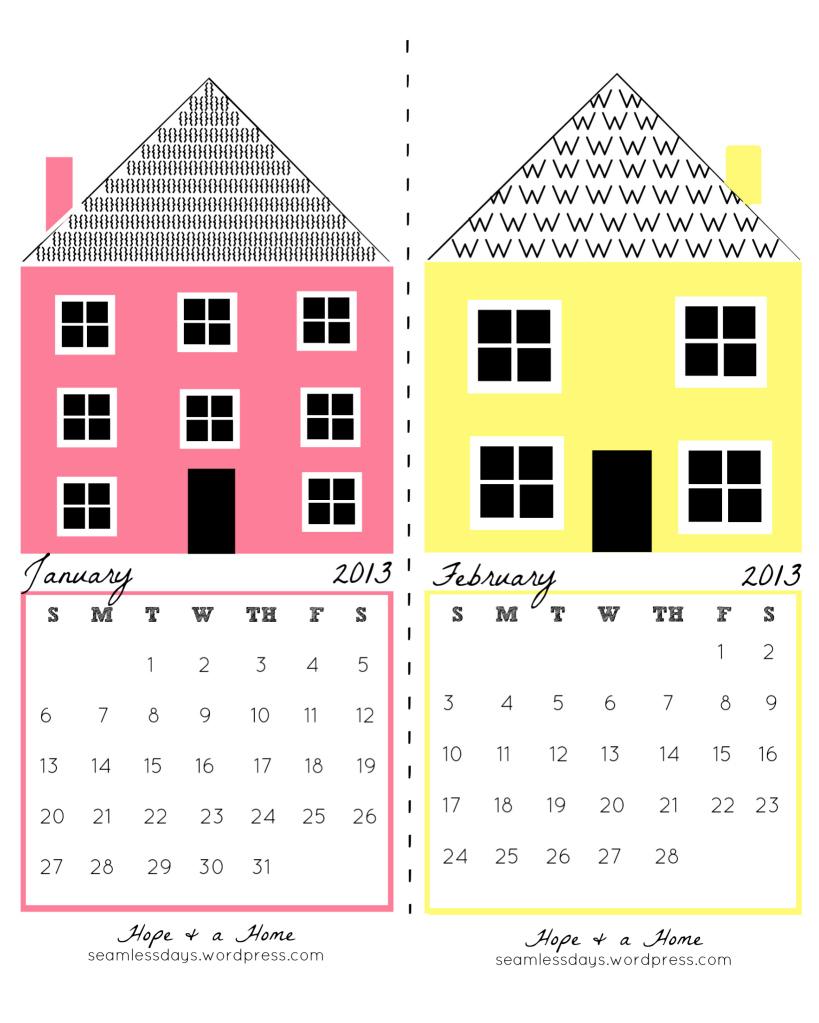 Lịch Handmade Hope and House, vừa in dưới dạng lịch treo tường, vừa làm lịch để bàn