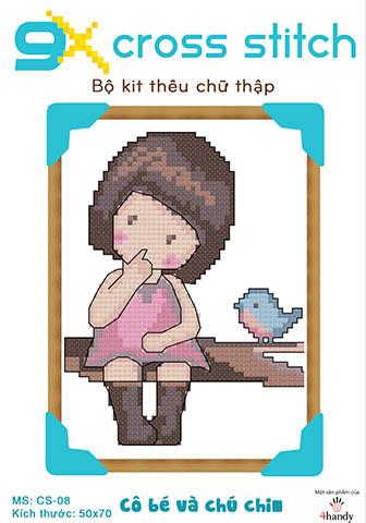 """Mẫu tranh thêu chữ thập """"Cô bé và chú chim"""""""