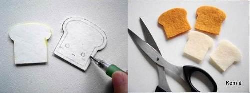 Vẽ hình bánh mì lên vải dạ nỉ