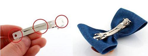 Gắn nơ handmade với kẹp inox bằng keo nến để có kẹp tóc hoàn chỉnh