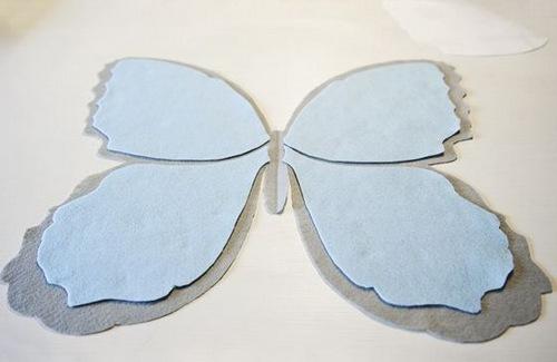 Hai phần cánh bướm làm gối handmade vải nỉ