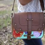Túi handmade kiểu cách với màu acrylic và vải vintage