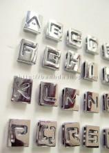 Chữ kim loại rỗng làm vòng tay gắn chữ, vòng da gắn chữ