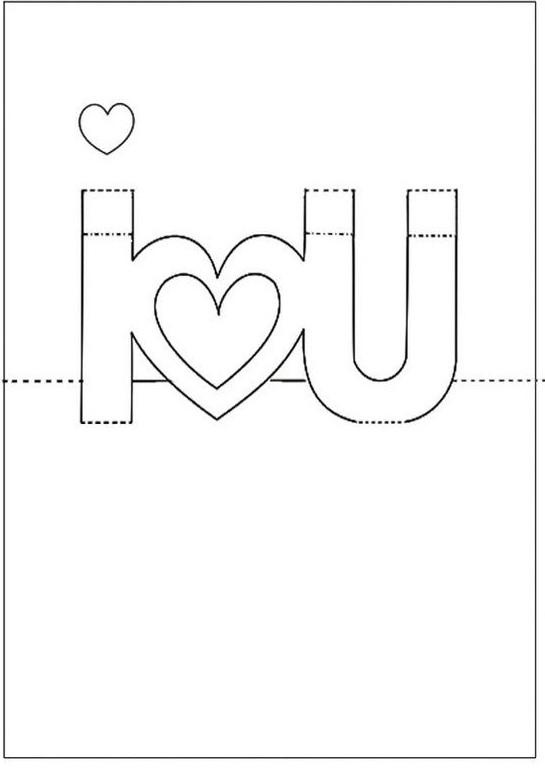 Template làm thiệp valentine handmade I love You