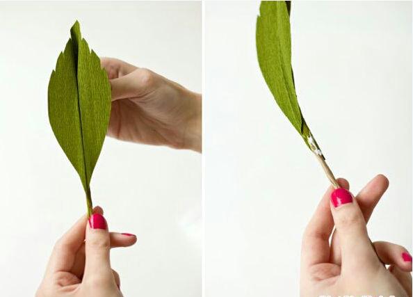 Dán cành kẽm nhỏ tạo sống lá