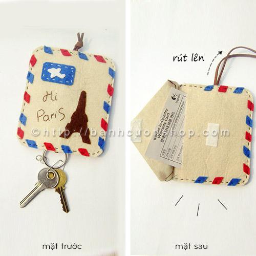 """BK06 Bao khóa kiêm ví vải nỉ Hi Paris. Công dụng """"2 trong 1"""" của chiếc bao khóa này sẽ làm bạn vô cùng thích thú. Chiếc bao khóa sẽ cùng bạn """"du lịch"""" đến nước Pháp lãng mạn, hào nhoáng."""