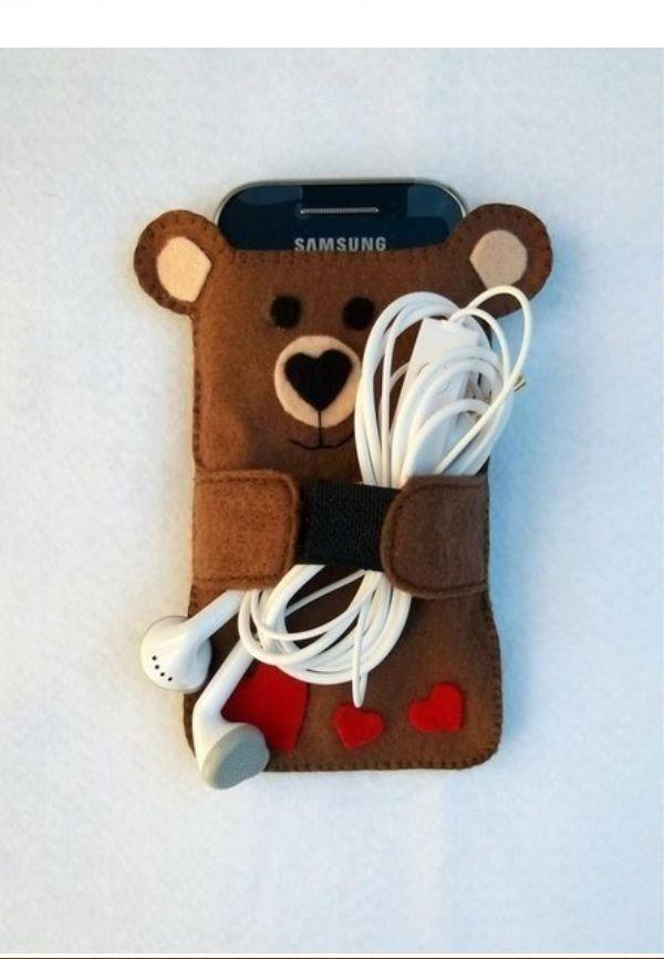 bao dien thoai bang vai ni 01 Cách làm bao điện thoại hình gấu siêu dễ thương