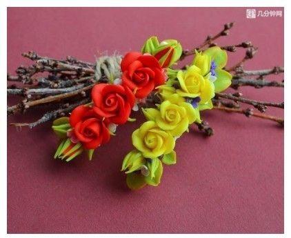 Kẹp hoa xinh xắn từ đất sét Nhật